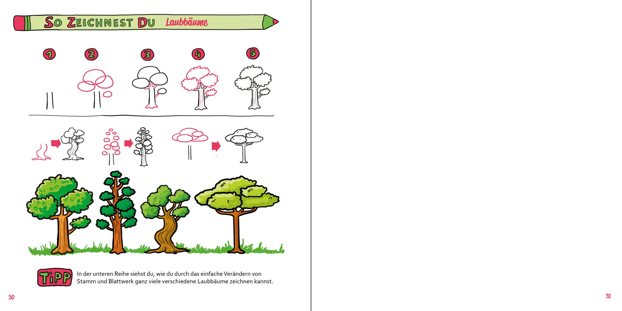 So zeichnest du Laubbäume Buch Zeichenanleitung