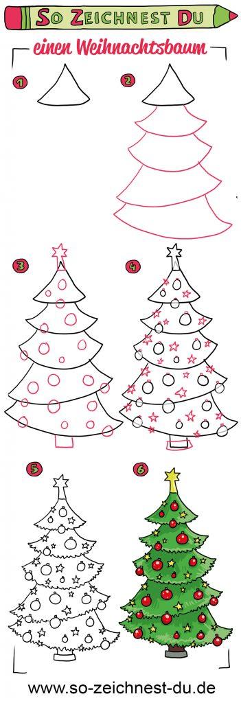 So zeichnest du einen Weihnachtsbaum Tannenbaum Zeichenschule
