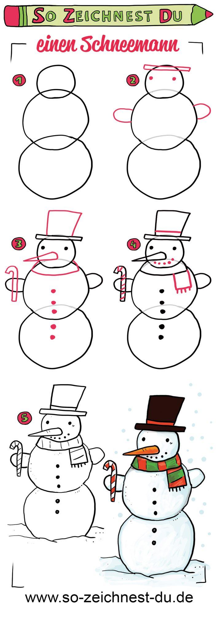 So zeichnest du einen Schneemann Zeichenschule Winter