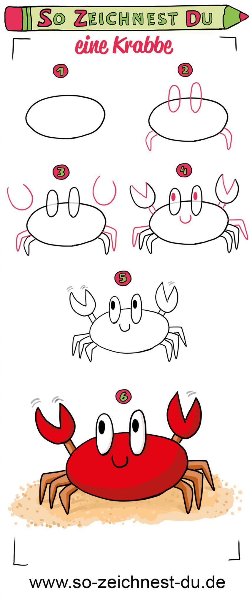 So zeichnest du eine süße Krabbe Krebs einfach