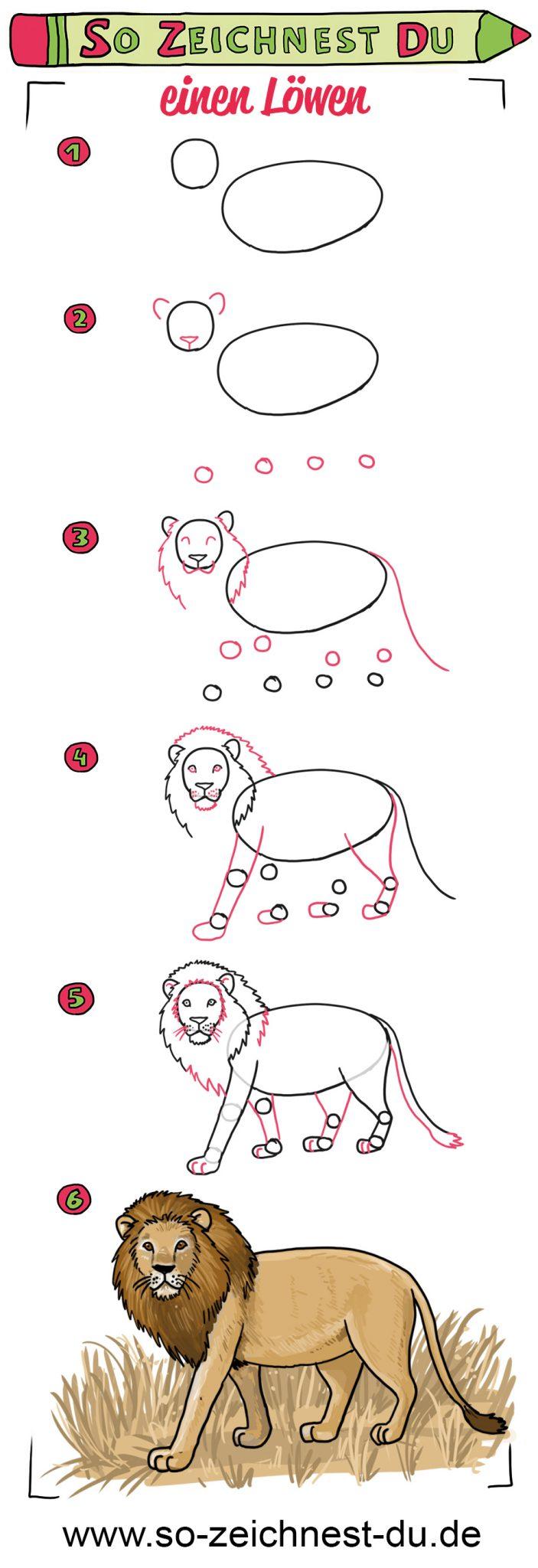 So zeichnest du einen Löwen Anleitung