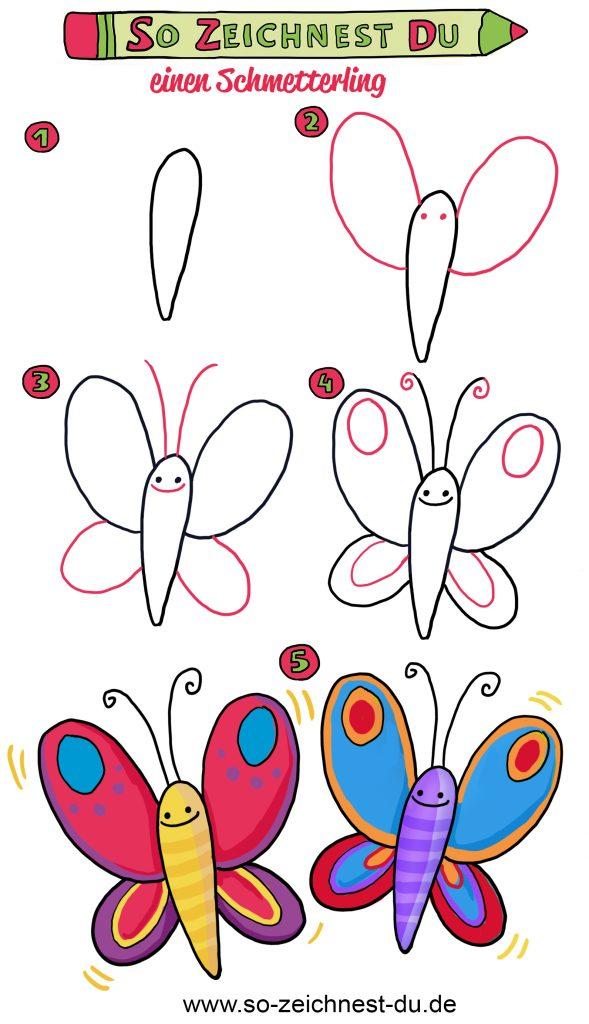 So zeichnest du einen einfachen Schmetterling Schritt für Schritt