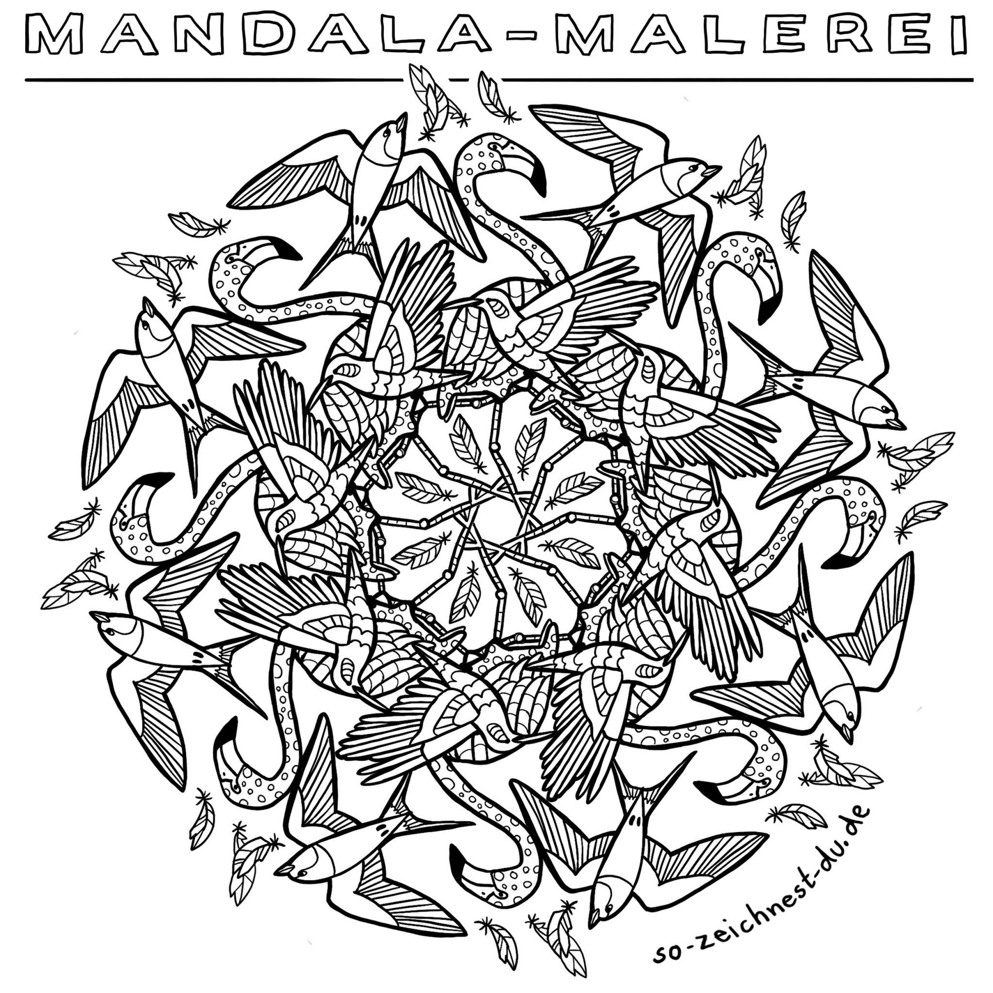 Vogel Mandala zum Ausmalen